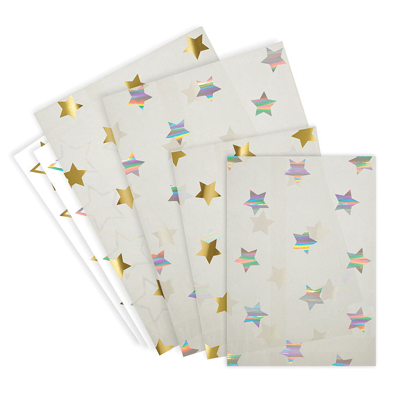 Meri Meri Glassine Treat  Bag - Gold & Silver Stars, MM-Meri Meri UK, Putti Fine Furnishings