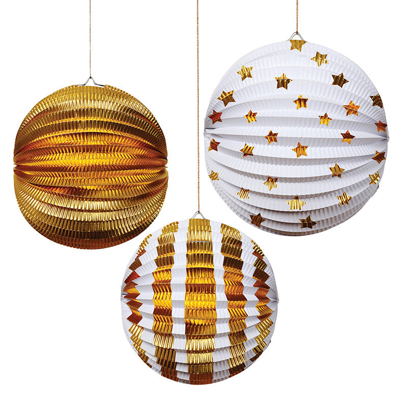 Meri Meri Foil Paper Lanterns - Gold -  Party Supplies - Meri Meri UK - Putti Fine Furnishings Toronto Canada - 1