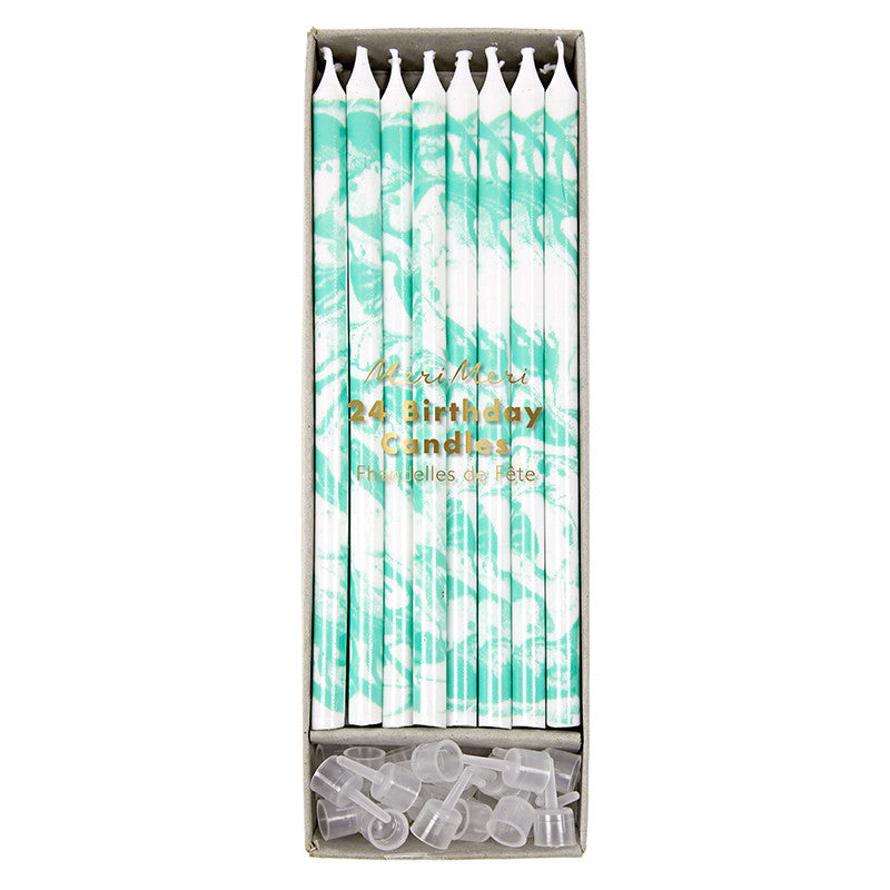 Meri Meri Marble Birthday Candles - Mint -  Party Supplies - Meri Meri UK - Putti Fine Furnishings Toronto Canada
