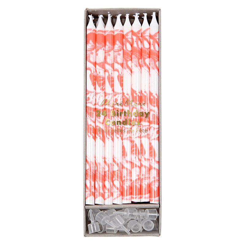 Meri Meri Marble Birthday Candles - Coral