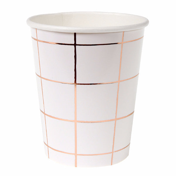 Rose Gold Grid Paper Cups -  Party Supplies - Meri Meri UK - Putti Fine Furnishings Toronto Canada