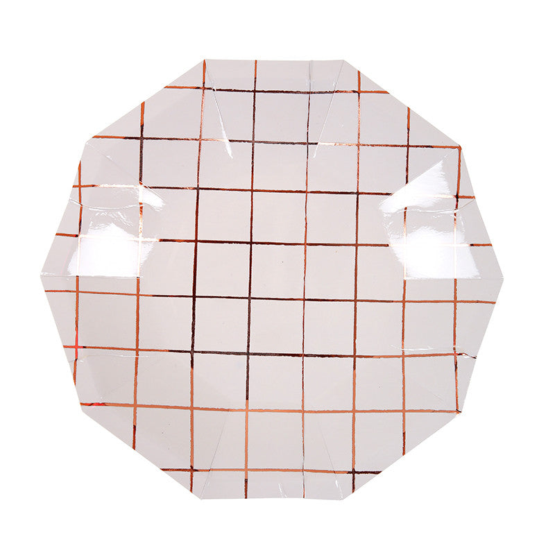 Rose Gold Grid Paper Plates - Small -  Party Supplies - Meri Meri UK - Putti Fine Furnishings Toronto Canada