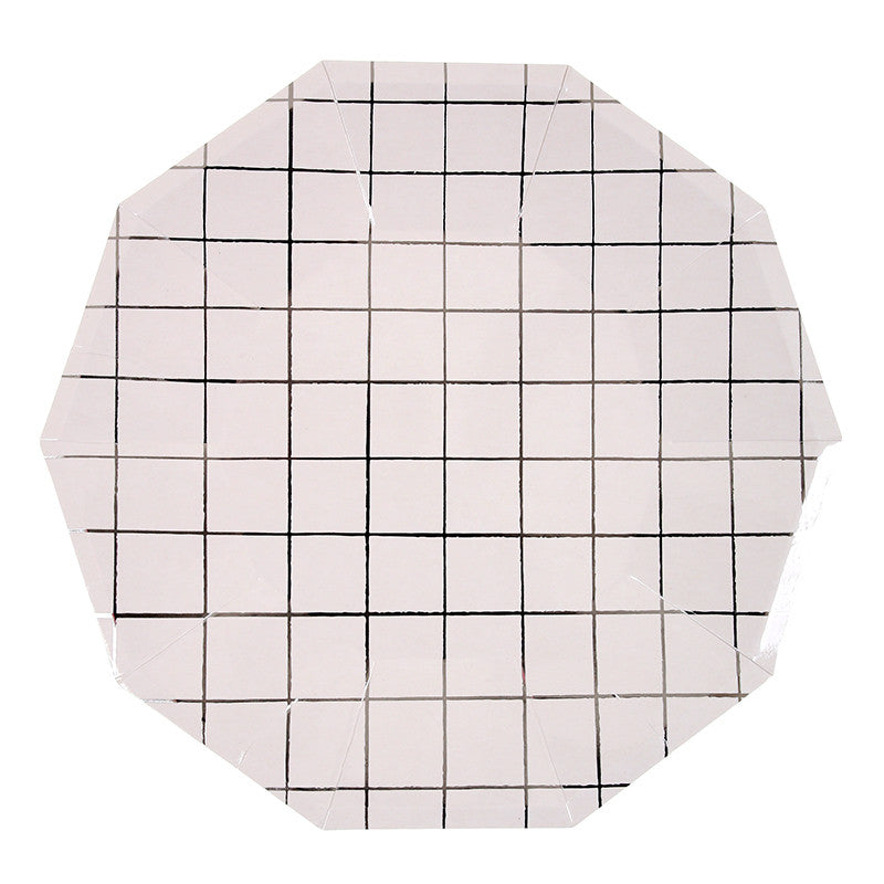 Silver Grid Paper Plates - Large, MM-Meri Meri UK, Putti Fine Furnishings