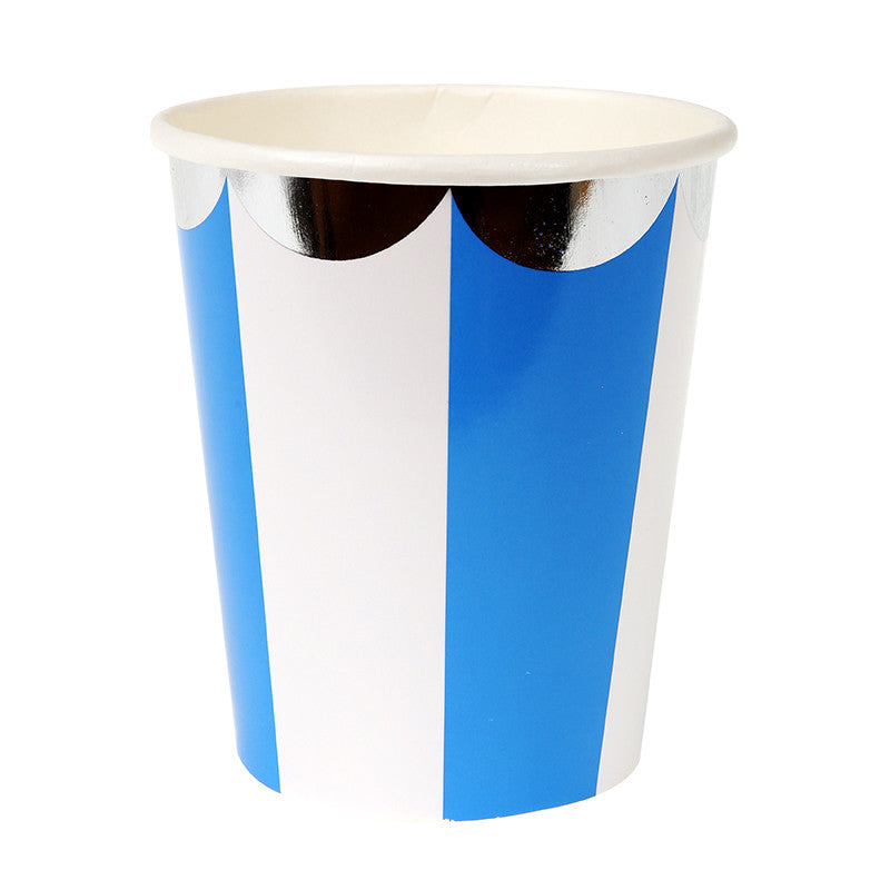 Meri Meri Blue & White Striped - Paper Cups, MM-Meri Meri UK, Putti Fine Furnishings