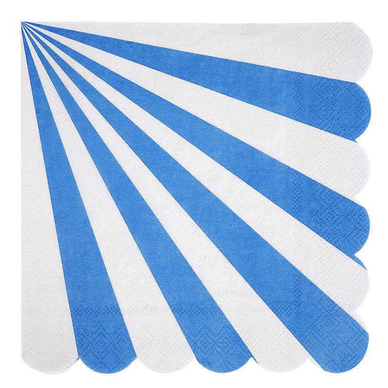 Meri Meri Blue & White Striped - Large Paper Napkins