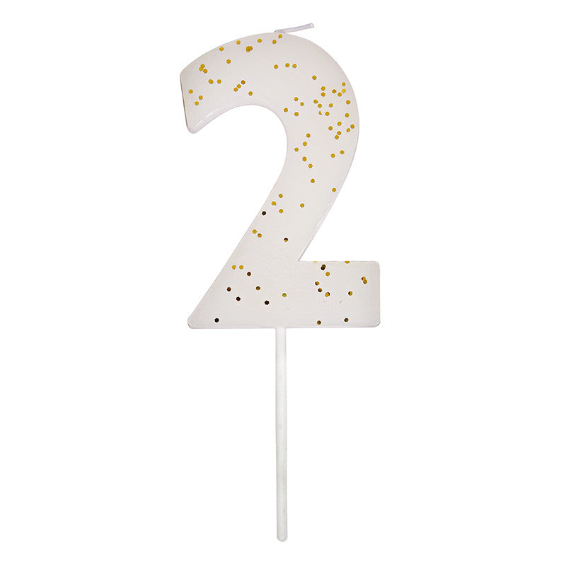 Meri Meri White Number 2 Candle -  Party Supplies - Meri Meri UK - Putti Fine Furnishings Toronto Canada - 1