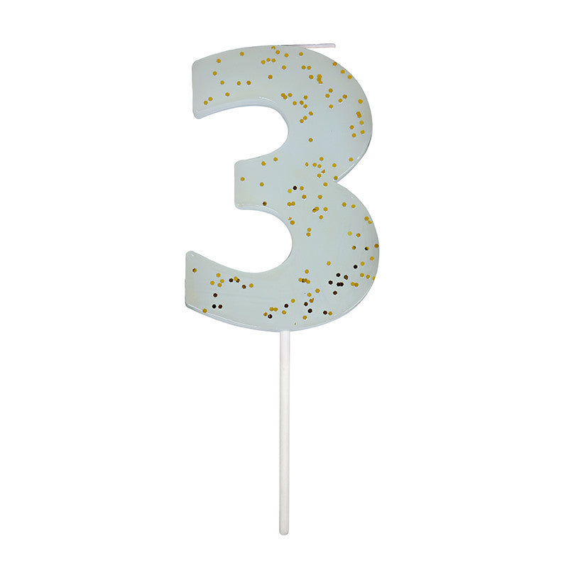 Meri Meri Blue Number 3 Candle -  Party Supplies - Meri Meri UK - Putti Fine Furnishings Toronto Canada - 1