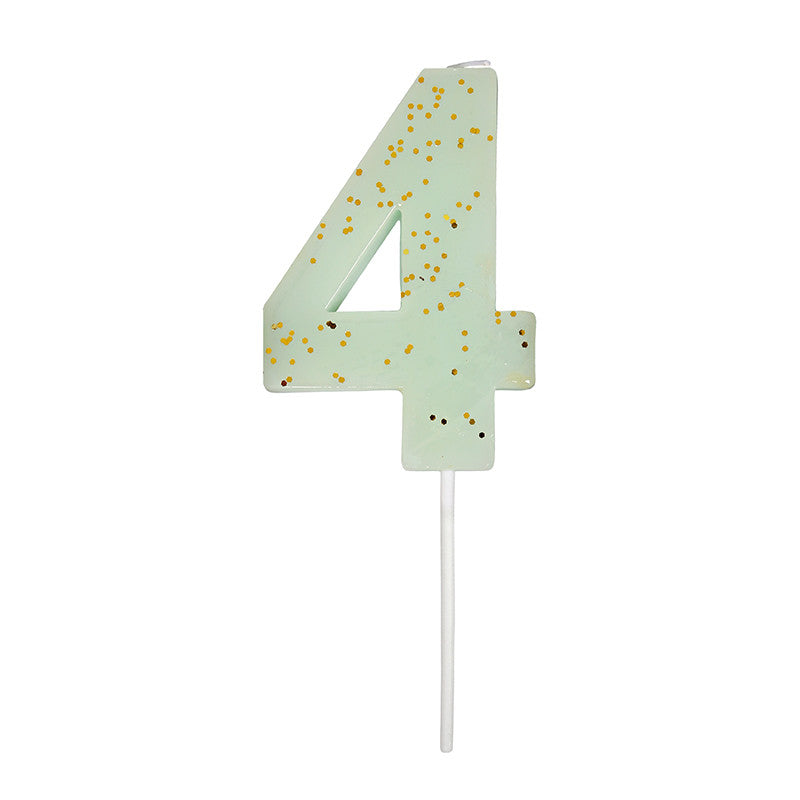 Meri Meri Mint Number 4 Candle -  Party Supplies - Meri Meri UK - Putti Fine Furnishings Toronto Canada - 1