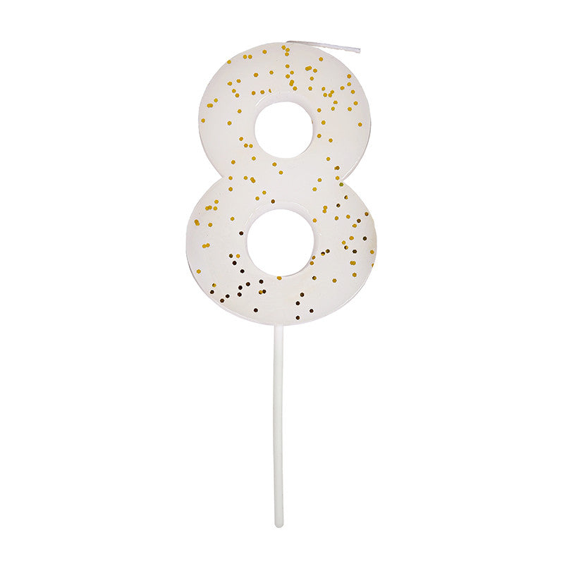 Meri Meri White Number 8 Candle -  Party Supplies - Meri Meri UK - Putti Fine Furnishings Toronto Canada - 1