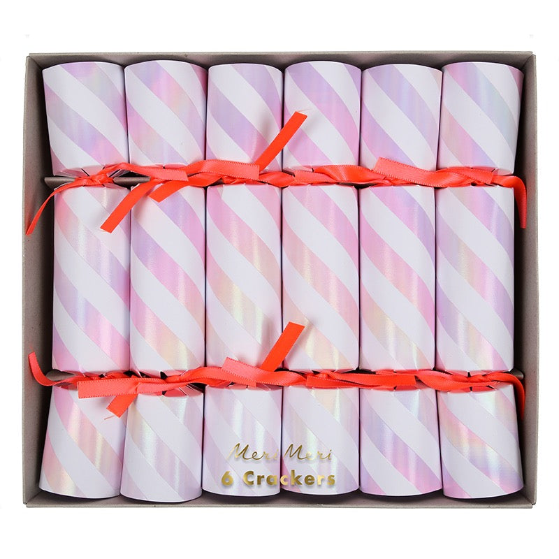 Meri Meri Small Iridescent Stripe Christmas Crackers | Putti Canada