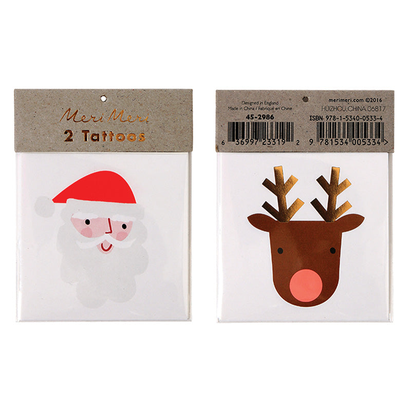Meri Meri Santa and Reindeer Tattoos-Party Supplies-MM-Meri Meri UK-Putti Fine Furnishings