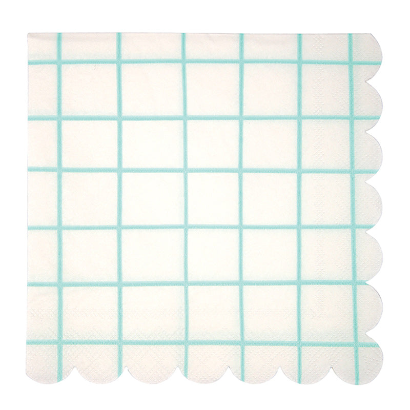Meri Meri Mint Grid Paper Napkins - Large, MM-Meri Meri UK, Putti Fine Furnishings