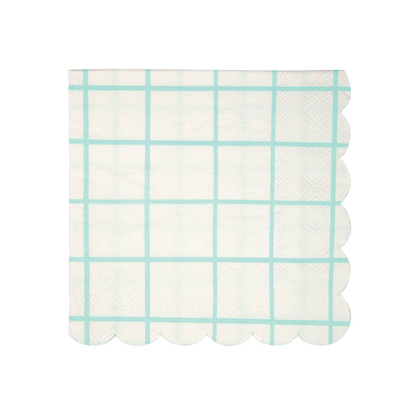 Meri Meri Mint Grid Paper Napkins -Small