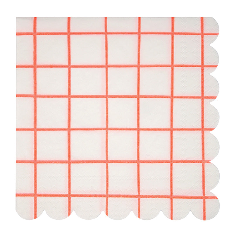 Meri Meri Coral Grid Paper Napkins - Large, MM-Meri Meri UK, Putti Fine Furnishings