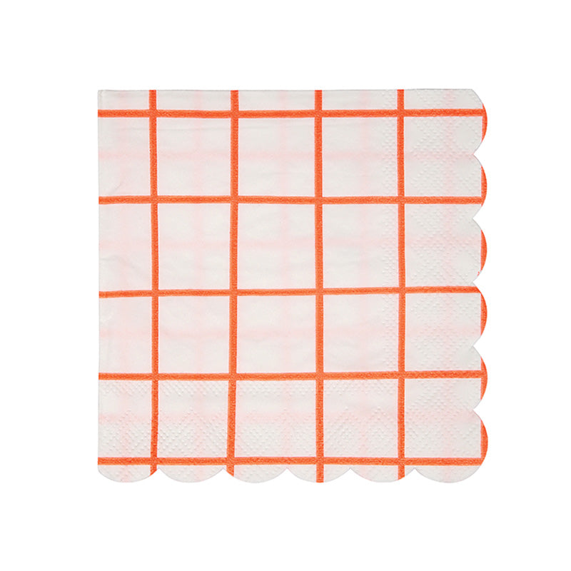 Meri Meri Coral Grid Paper Napkins -Small, MM-Meri Meri UK, Putti Fine Furnishings