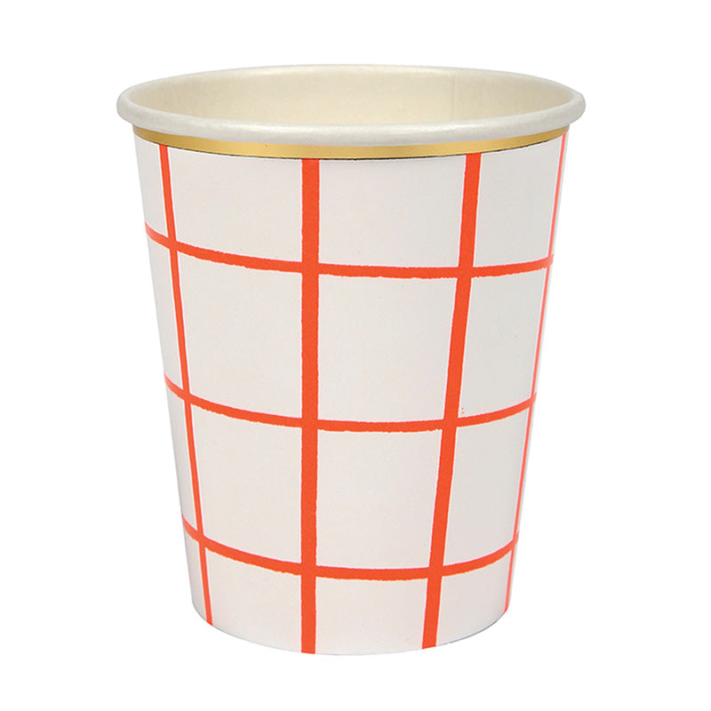 Meri Meri Coral Grid Paper Cups, MM-Meri Meri UK, Putti Fine Furnishings