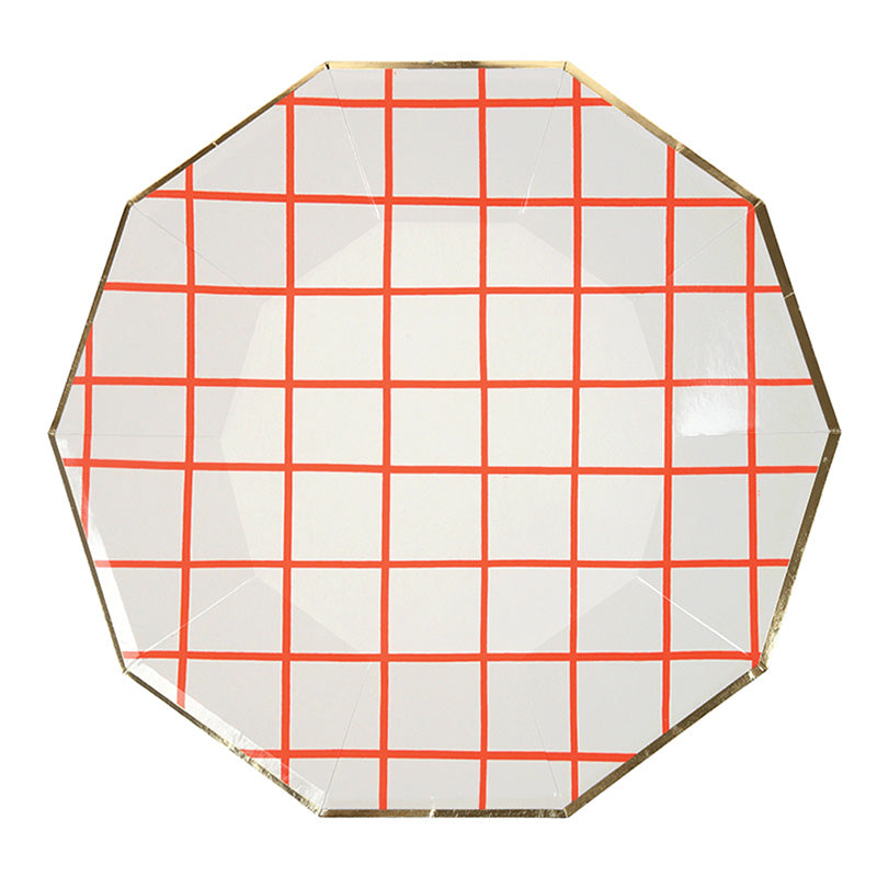 Meri Meri Coral Grid Paper Plates - Large, MM-Meri Meri UK, Putti Fine Furnishings