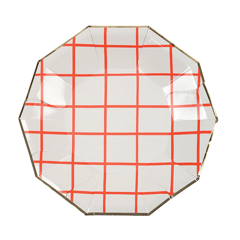Meri Meri Coral Grid Paper Plates - Small, MM-Meri Meri UK, Putti Fine Furnishings
