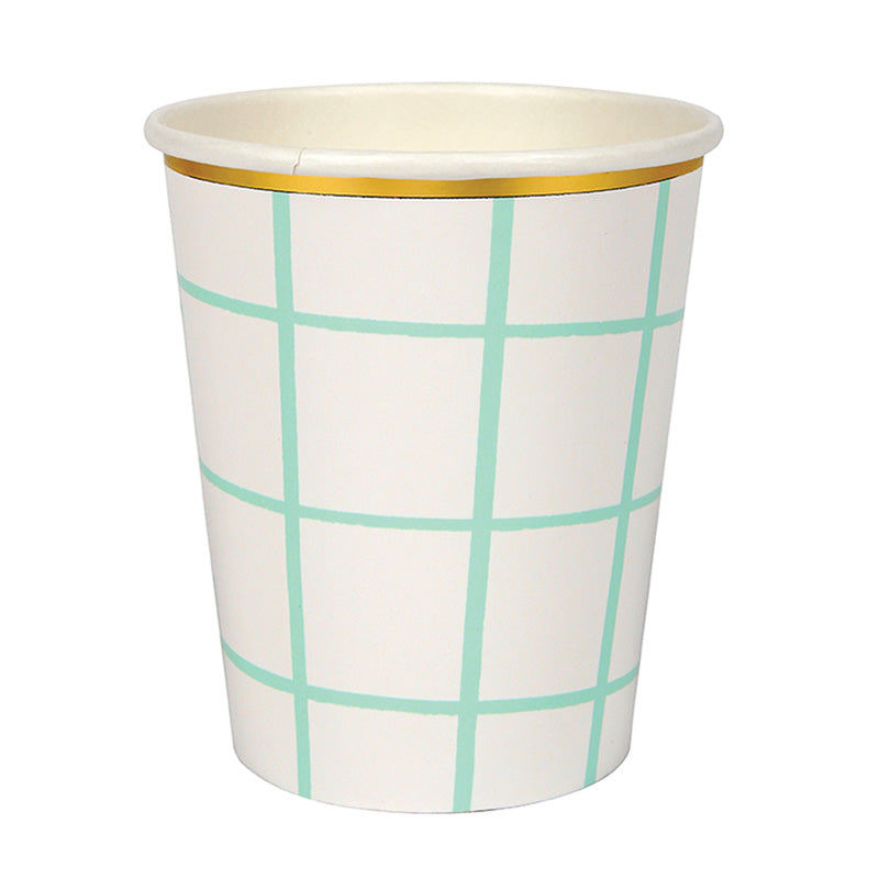 Meri Meri Mint Grid Paper Cups, MM-Meri Meri UK, Putti Fine Furnishings