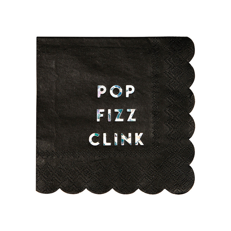 Meri Meri Pop Fizz Clink Black Holographic Foil Paper Napkins - Small