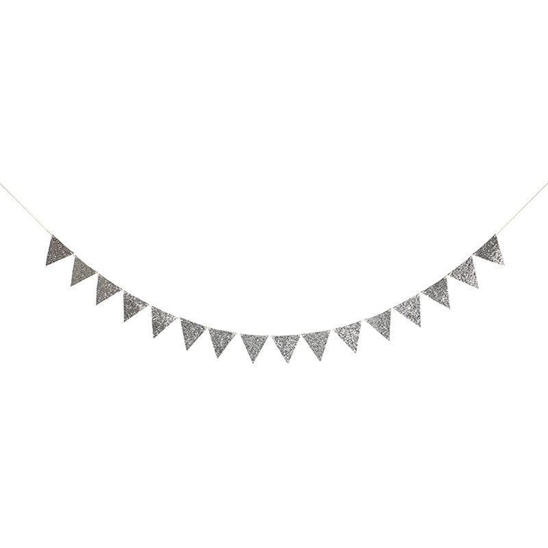 Meri Meri Silver Glitter Flag Garland, MM-Meri Meri UK, Putti Fine Furnishings