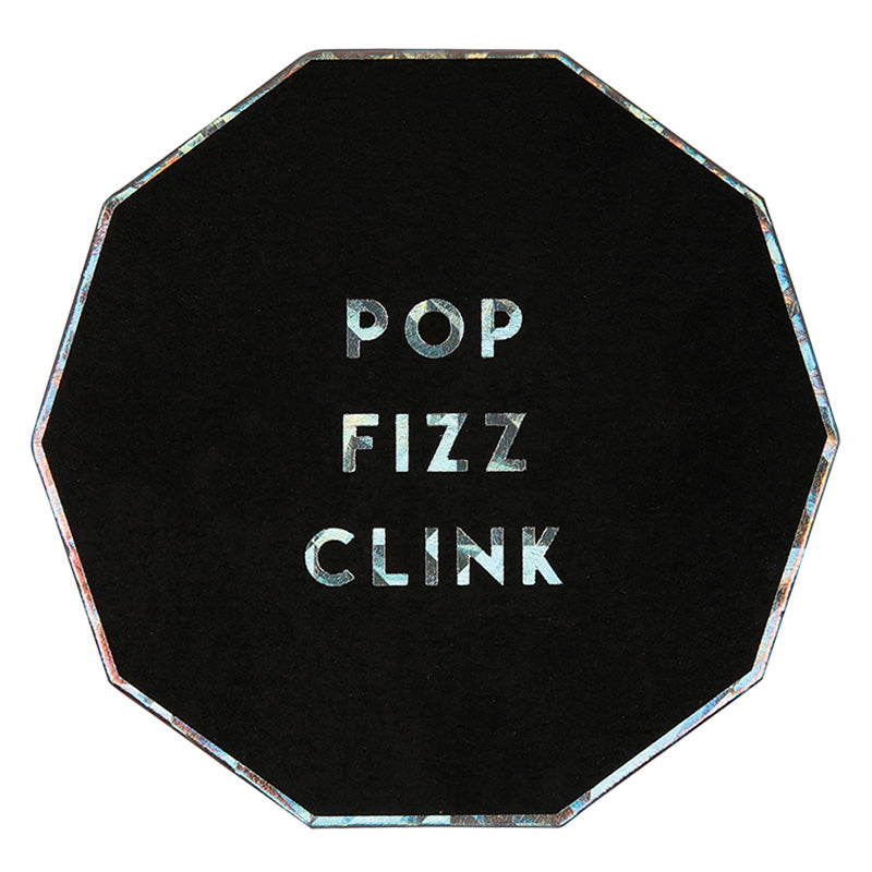 Meri Meri Pop Fizz Clink Black Holographic Foil Paper Coasters, MM-Meri Meri UK, Putti Fine Furnishings