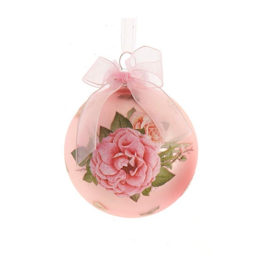 Kurt Adler Blush Boho Chic Decal Glass Ball Ornament - Blush Pink  | Putti Christmas
