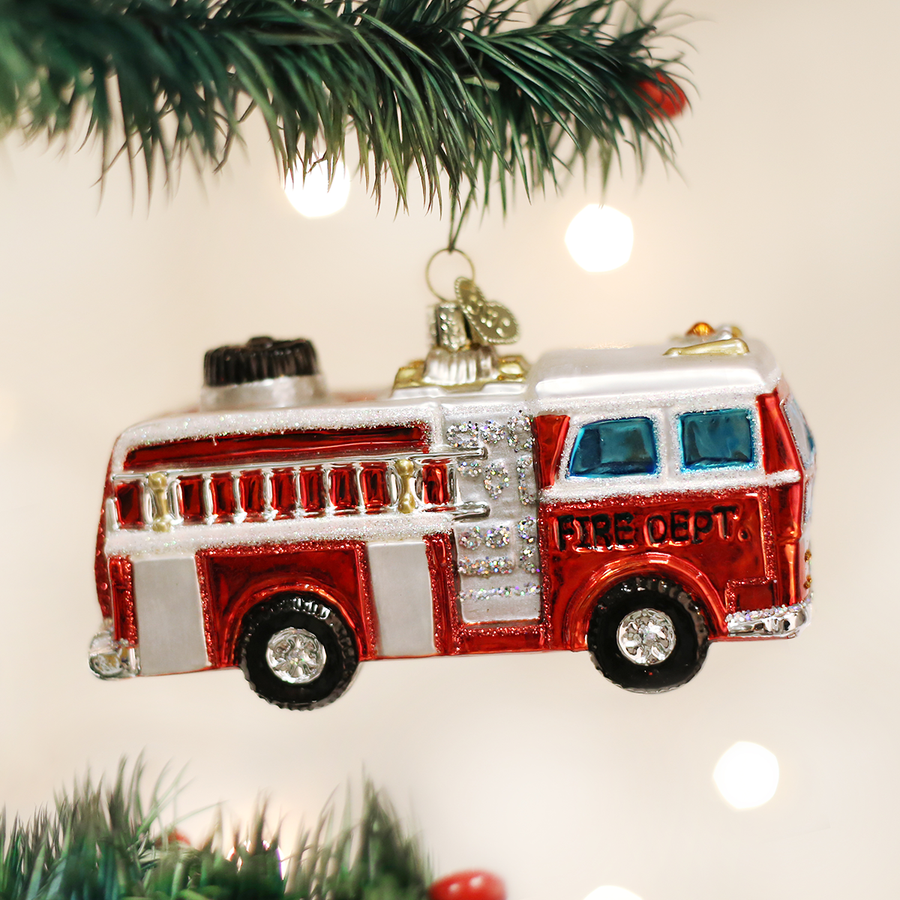 Old World Christmas Fire Truck Glass Christmas Ornament