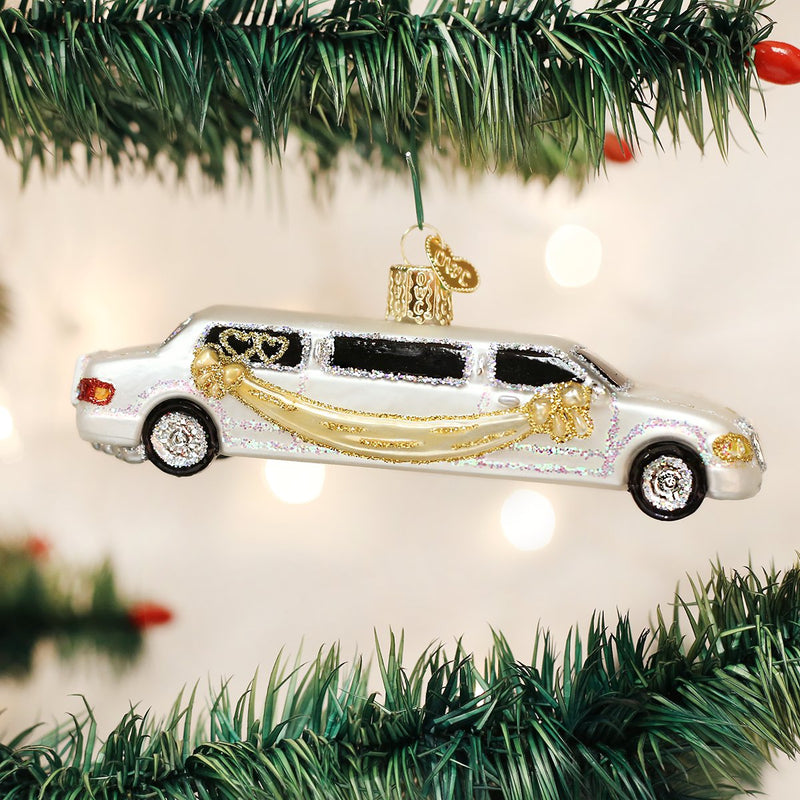 Old Word Christmas Just Married Limo Ornament