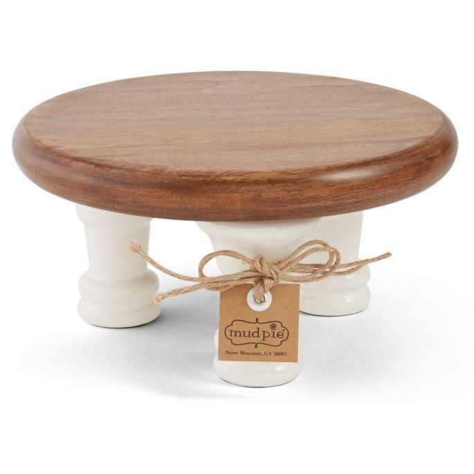 Mud Pie Wood and White Lacquer Pedestals