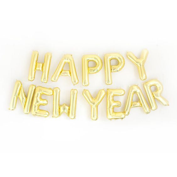 """Happy New Year"" Balloon Banner - Gold Foil"