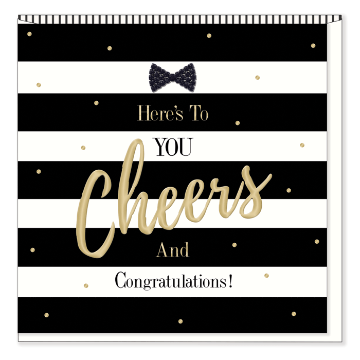 """Here's to You Cheers and Congratulations"" Greeting Card, HD-Hearts Design, Putti Fine Furnishings"