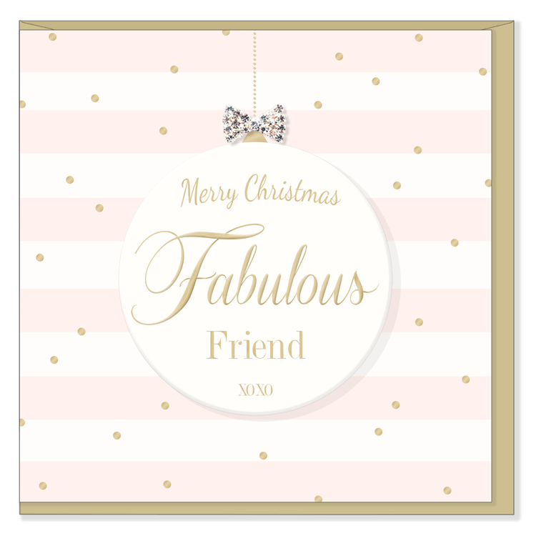 """Merry Christmas Fabulous Friend XOXO"" Greeting Card 