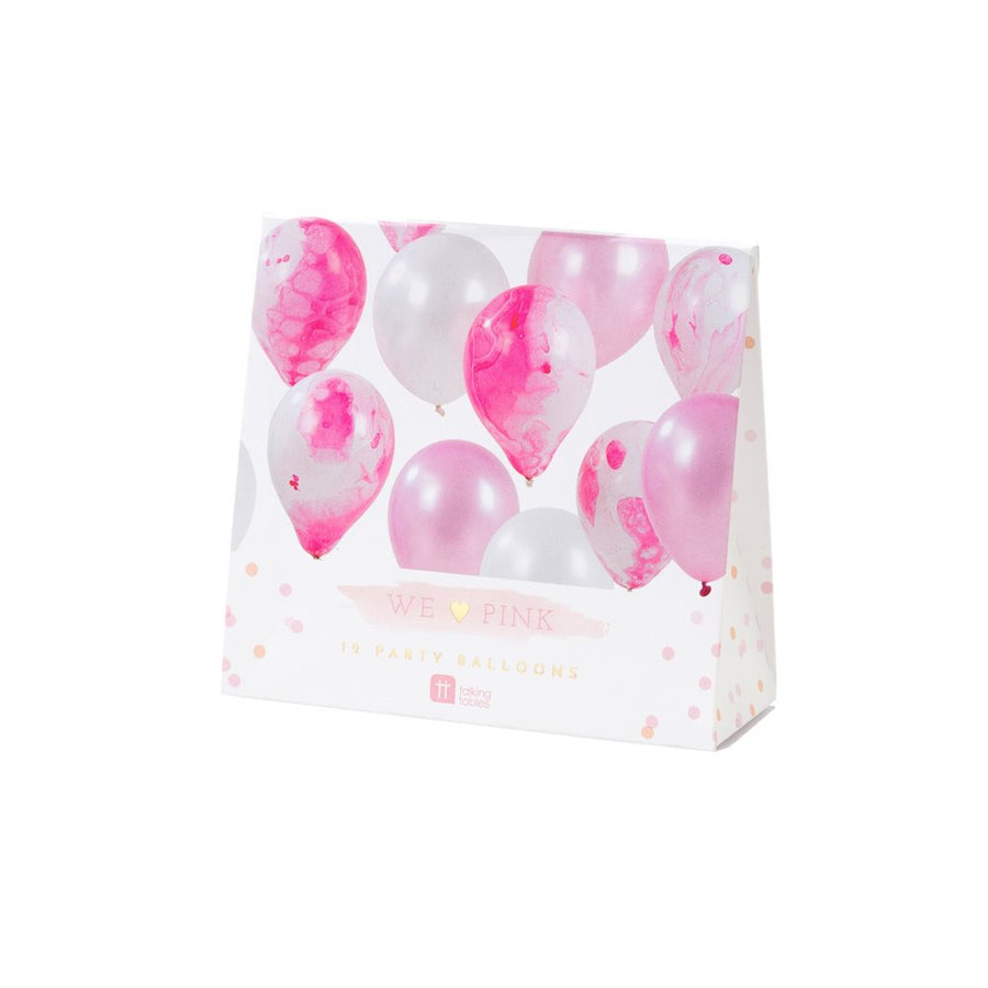 We Heart Pink Marble Effect Balloons