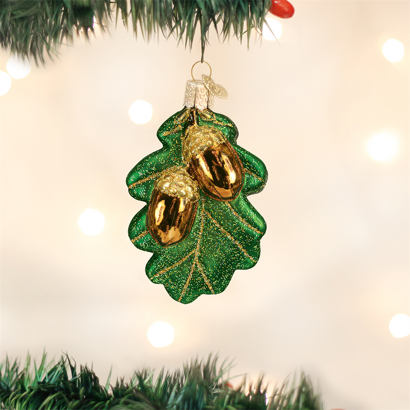 Old World Christmas Oak Leaf with Acorns Glass Ornament -  Christmas Decorations - Old World Christmas - Putti Fine Furnishings Toronto Canada - 1