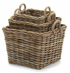 Square Kubu Grey Washed Baskets -  Baskets - Bacon Basket - Putti Fine Furnishings Toronto Canada