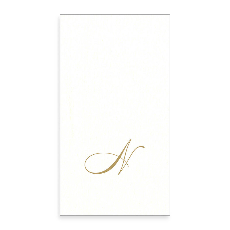 Gold Monogram Paper Guest Towel - Letter N, CI-Caspari, Putti Fine Furnishings