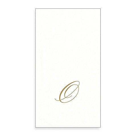 Gold Monogram Paper Guest Towel - Letter O, CI-Caspari, Putti Fine Furnishings