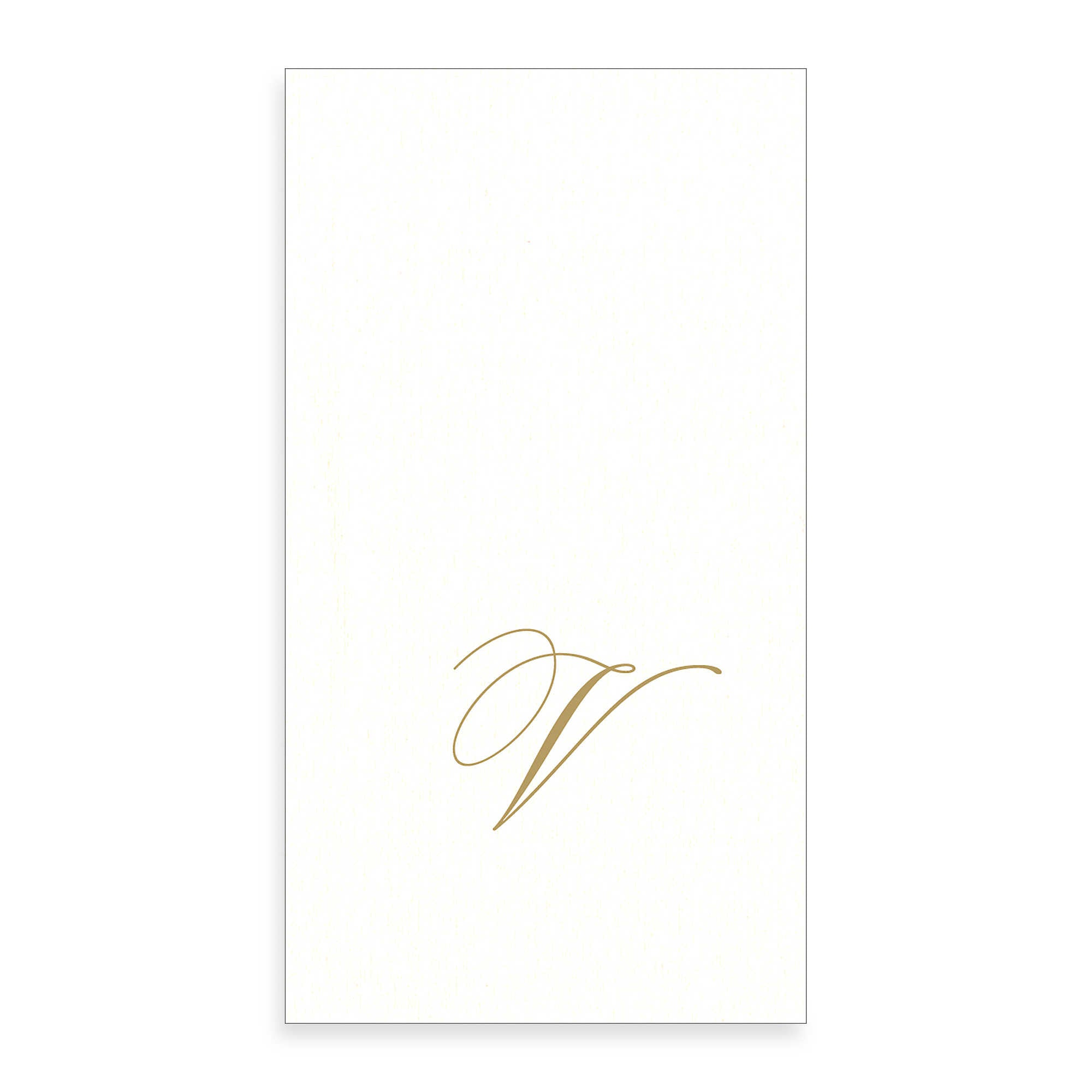 Gold Monogram Paper Guest Towel - Letter V, CI-Caspari, Putti Fine Furnishings