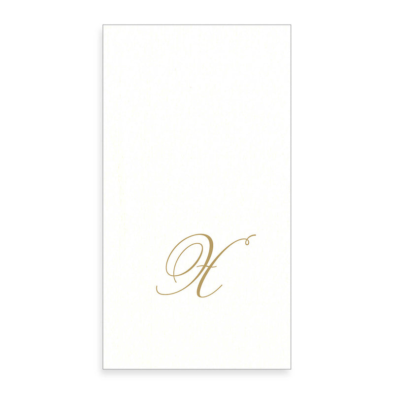 Gold Monogram Paper Guest Towel - Letter X, CI-Caspari, Putti Fine Furnishings