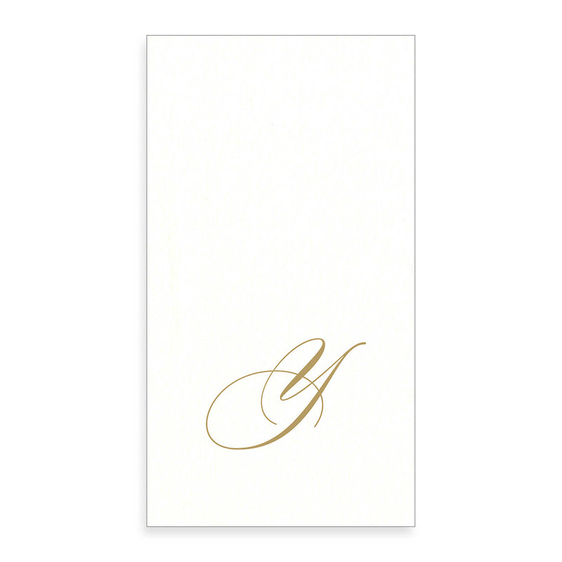Gold Monogram Paper Guest Towel - Letter Y, CI-Caspari, Putti Fine Furnishings