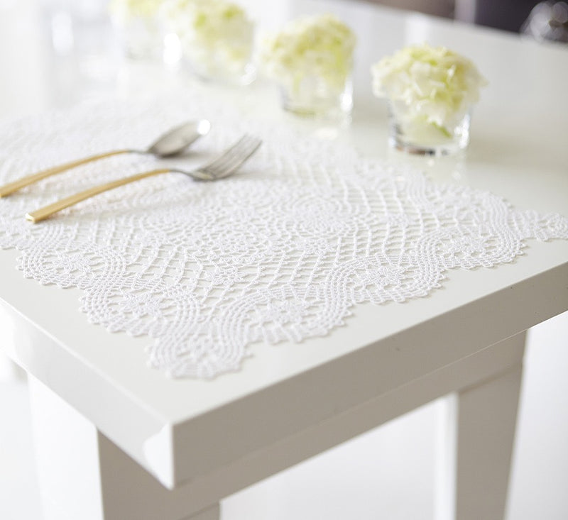 White Lace Pressed Vinyl Placemat