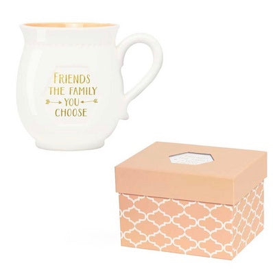 """Friends are the family you choose"" Boxed Porcelain Mug, CRG-CR Gibson, Putti Fine Furnishings"