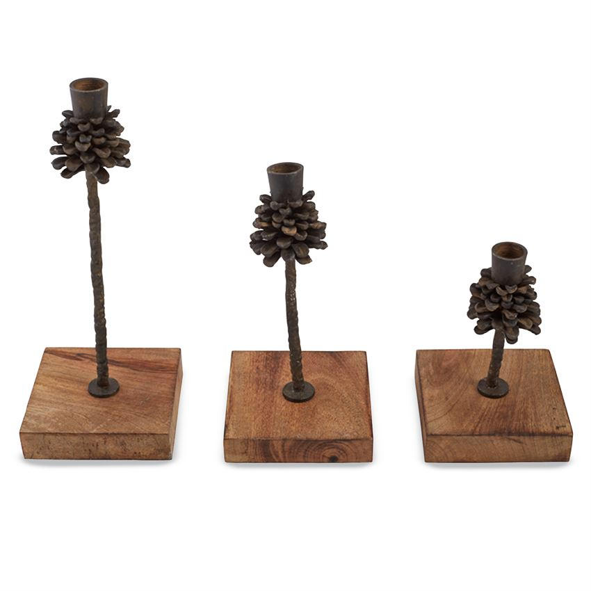 Pinecone Candle Holder - Set of 3