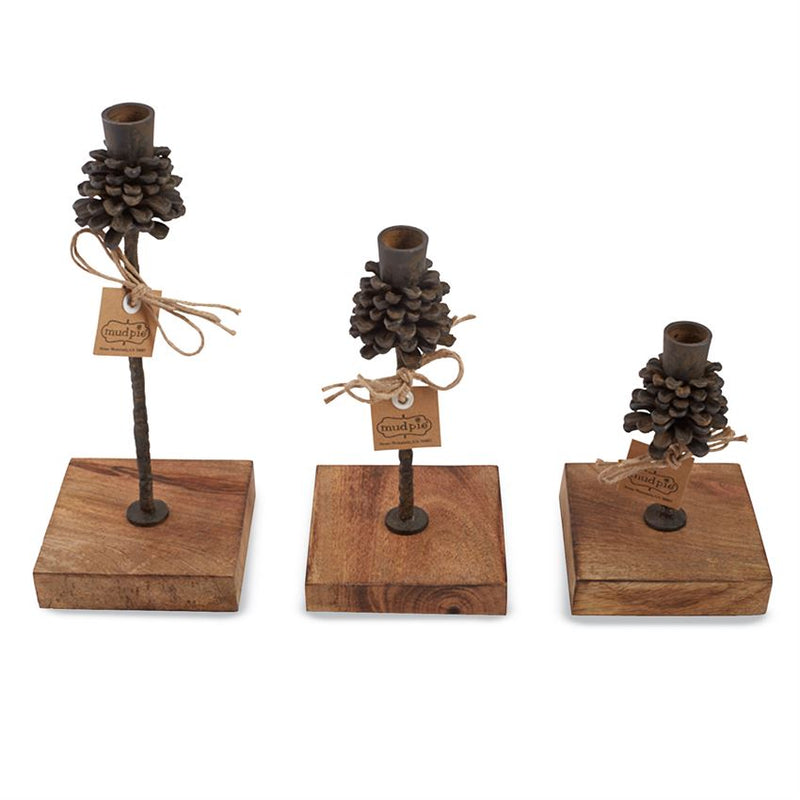 Pinecone Candle Holder - Set of 3, MP-Mud Pie, Putti Fine Furnishings