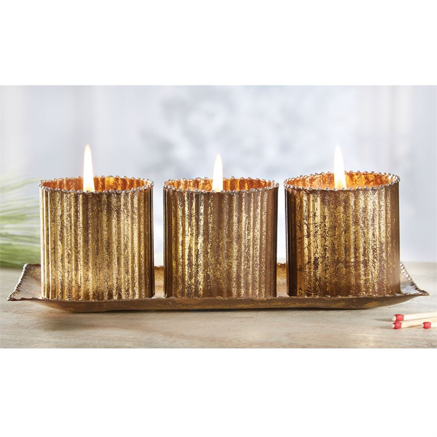 Gold Tin Tripple Votive Set
