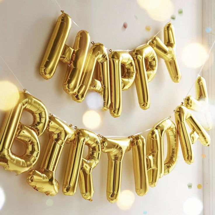 """Happy Birthday"" Balloon Banner - Gold Foil"