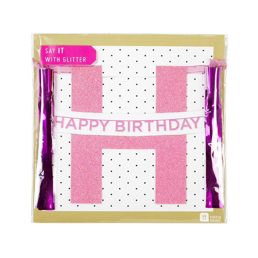 "Say It With Glitter Pink ""Happy Birthday"" Banner"