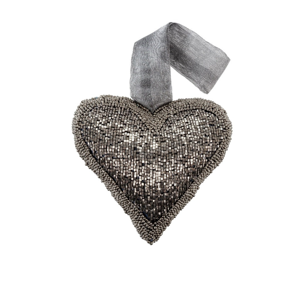 Smoke Beaded Heart Ornament - Medium | Putti Fine Furnishings