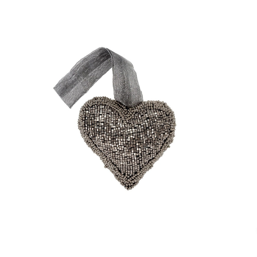 Smoke Beaded Heart Ornament - Small